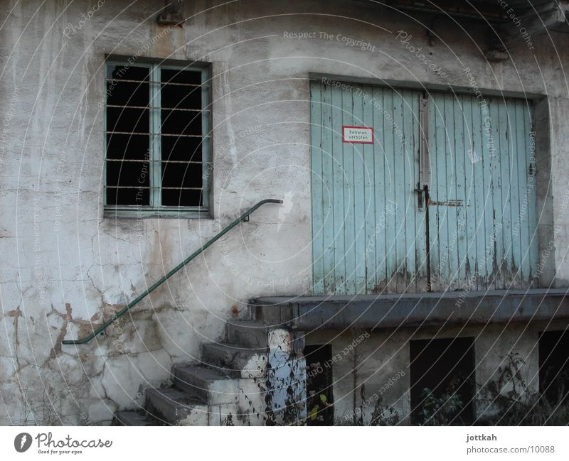 apartment door House (Residential Structure) Architecture Stairs Window Door Old Dirty Broken Blue rocked Flat (apartment) Storage Warehouse Colour photo