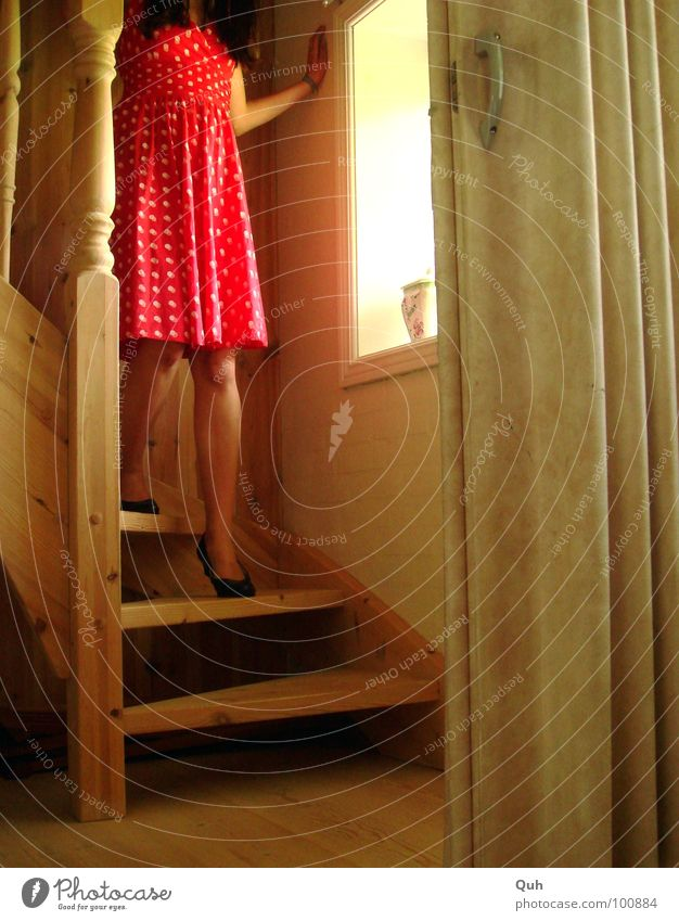 Moment II Wood Woman Feminine Dress Footwear Black Red White Stairs Turn on the lathe Window Window board Door handle Going Worm's-eye view Sliding door Light