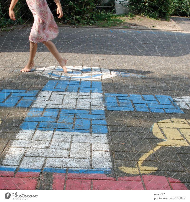 Child Girl Playing Movement Feet Playground Schoolyard Play instinct Hinky Pinky