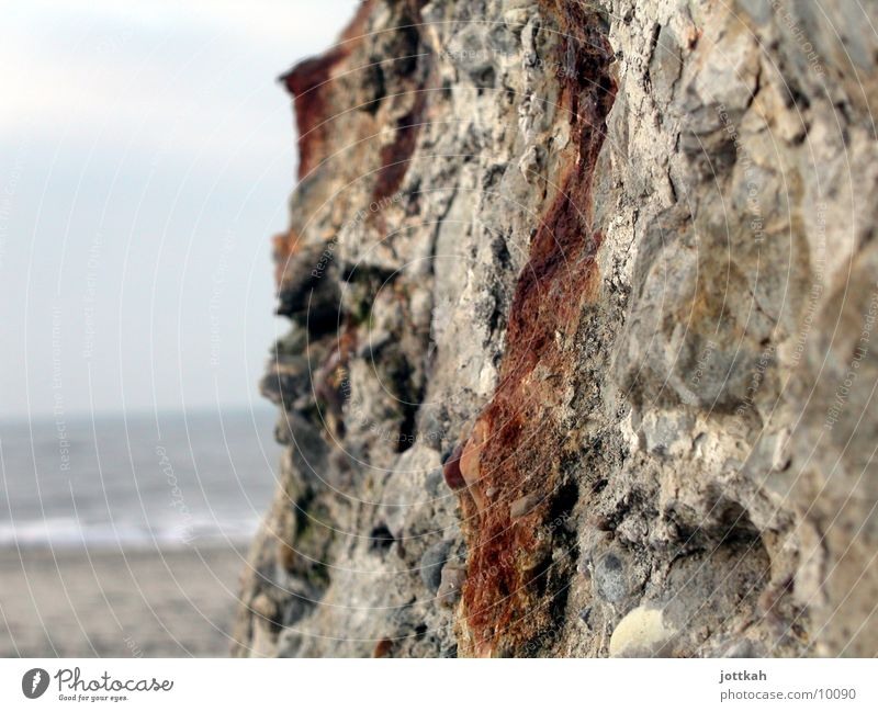 Old Water Ocean Beach Wall (building) Stone Sand Concrete Broken Rust Material Surface Rough Hard Dugout Crumbled
