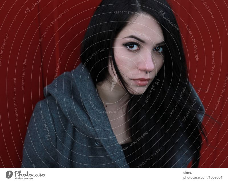 . Container Feminine Young woman Youth (Young adults) 1 Human being Wall (barrier) Wall (building) Coat Piercing Black-haired Long-haired Observe Think Looking