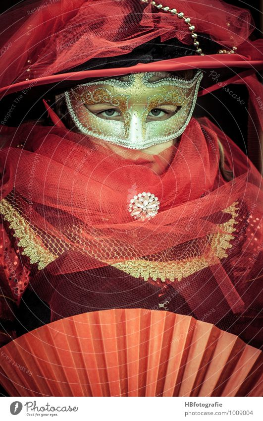 Human being Youth (Young adults) Beautiful Young woman Red Feminine Head Romance Mysterious Mask Carnival Venice Tulle