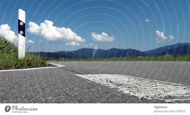 Nature Sky White Green Blue Summer Vacation & Travel Clouds Street Meadow Mountain Gray Signs and labeling Asphalt Hill Traffic infrastructure