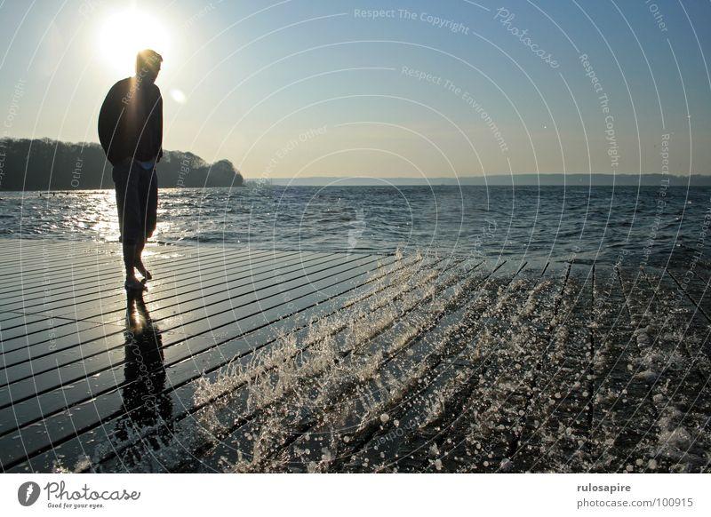 spring sun Flensburg Beach Footbridge Ocean Sun Water solitoid fjord Baltic Sea Human being Shadow