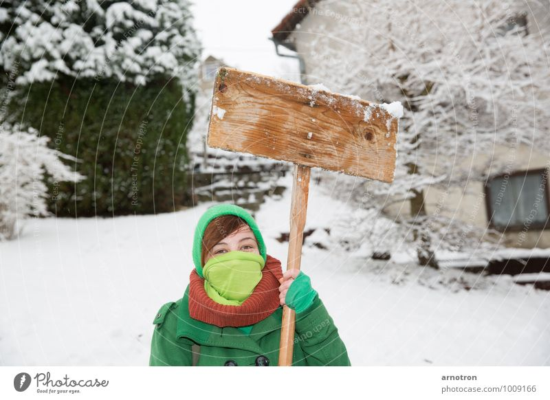 Schneegida - Protest in the snow Human being Feminine Young woman Youth (Young adults) 1 18 - 30 years Adults Landscape Winter Snow Tree Bushes Garden
