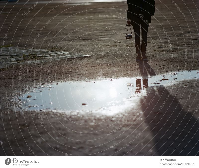 The Photographer Camera Human being 1 18 - 30 years Youth (Young adults) Adults Earth Sunrise Sunset Sunlight Sand Concrete Uniqueness Photography Puddle Analog