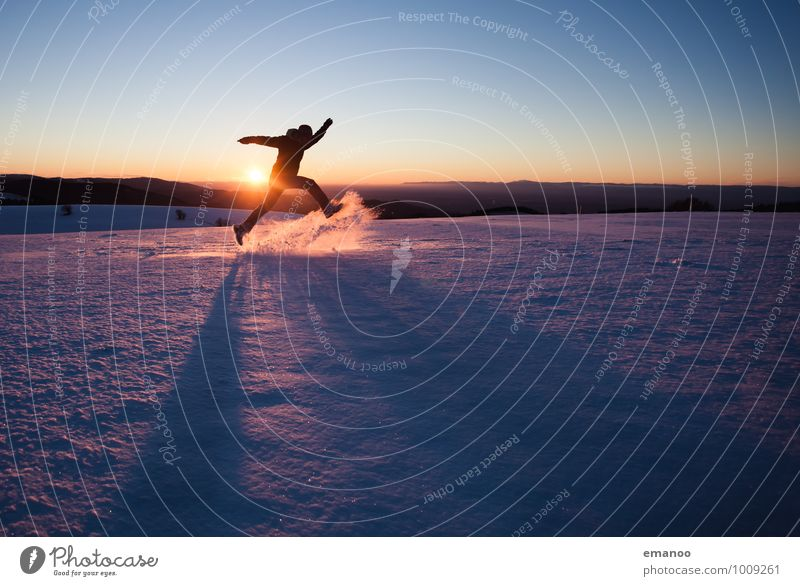 Human being Nature Vacation & Travel Youth (Young adults) Man Joy Winter Far-off places Cold Adults Mountain Emotions Snow Style Freedom Jump