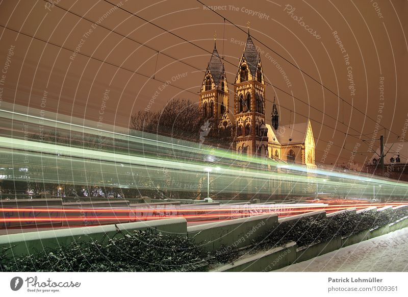 City Winter Architecture Movement Snow Religion and faith Germany Transport Speed Europe Church Driving Manmade structures Landmark Downtown Mobility
