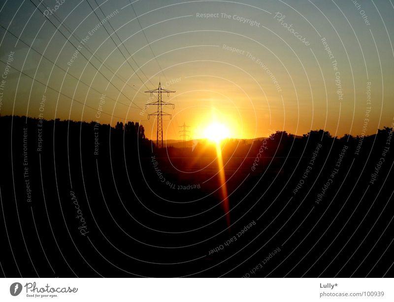 Evening sun in Tuscany Germany Sunset Electricity Electricity pylon Twilight Light Romance Skyline
