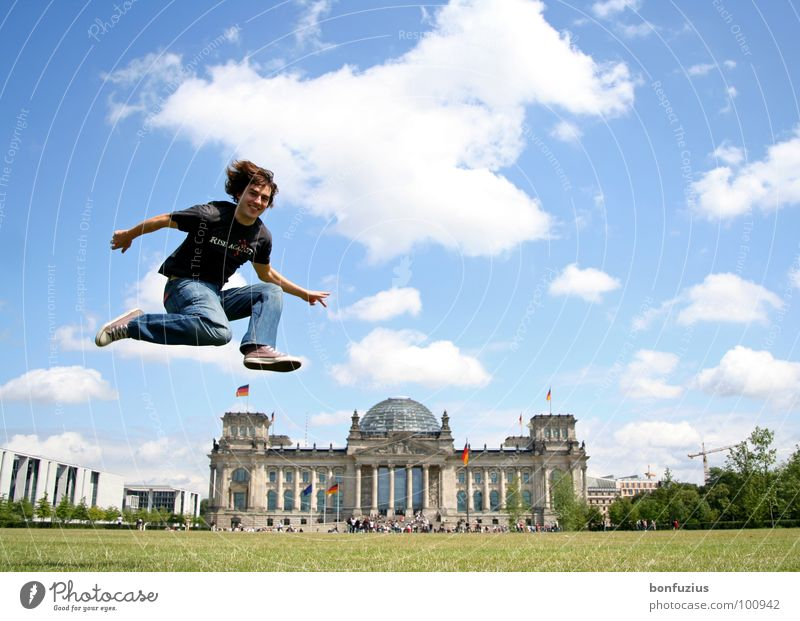 Blue White Green Summer Joy Clouds Meadow Playing Berlin Small Jump Art Germany Flying Tall Large