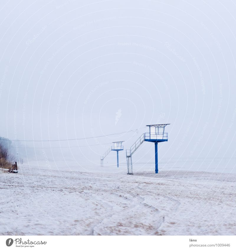 sentinel Environment Earth Sand Sky Winter Fog Snow Coast Island Usedom Maritime Blue Loneliness Uniqueness Tourism Lanes & trails Frost Beach Exterior shot