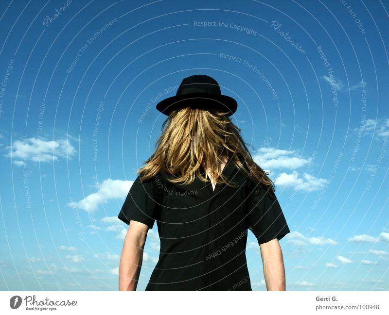 hocus-pocus Surrealism False Inverted Man Long-haired Blonde Headwear Camouflage Concealed Invisible Really Mystic Absurd Fantastic Shirt Black Sky blue Clouds