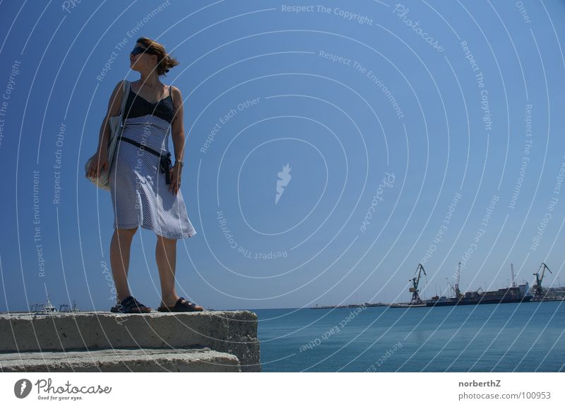 Woman Water Vacation & Travel Summer Dress Harbour Sunglasses Crete Greece Heraklion