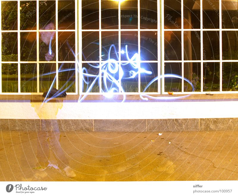 Human being Blue Green Red Black Yellow Window Dark Graffiti Wall (building) Playing Movement Art Bright Dirty Speed
