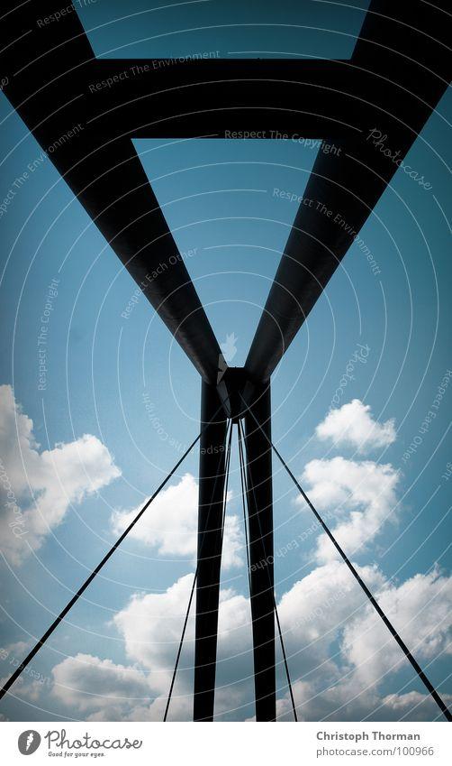 Sky Blue Clouds Black Transport Rope Bridge Steel Connection Column Hang Upward Construction Carrying Duesseldorf
