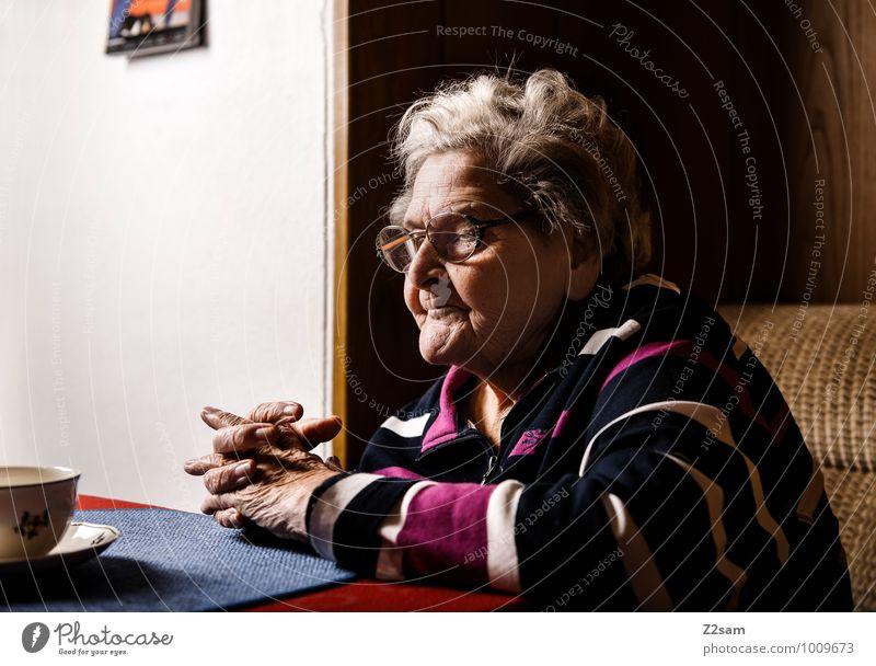 O M A Feminine Female senior Woman Grandmother 60 years and older Senior citizen Sweater Eyeglasses White-haired Think Dream Wait Old Natural Caution Serene