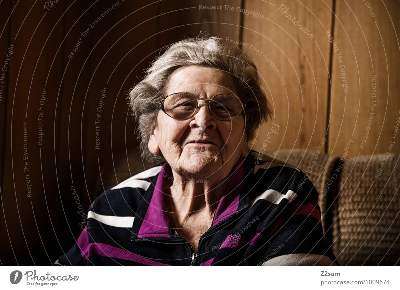 grandma Feminine Female senior Woman Grandmother 60 years and older Senior citizen Eyeglasses White-haired To talk Communicate Smiling Laughter Looking Old