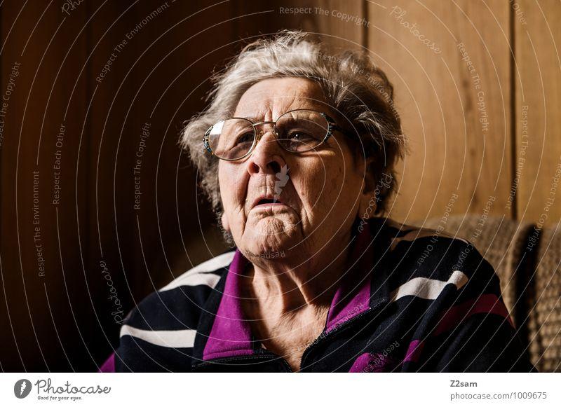 rebel Healthy Feminine Female senior Woman Grandmother 60 years and older Senior citizen Sweater Eyeglasses Gray-haired To talk Communicate Sit Old Brash