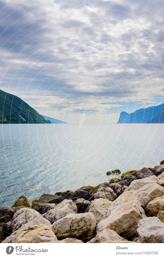 lago di garda Environment Nature Landscape Sky Clouds Sunrise Sunset Summer Beautiful weather Rock Mountain Lakeside Infinity Sustainability Natural Blue Calm