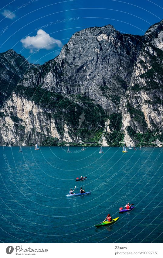 lago di garda Vacation & Travel Summer Summer vacation Environment Nature Landscape Sky Beautiful weather Rock Alps Mountain Lakeside Relaxation