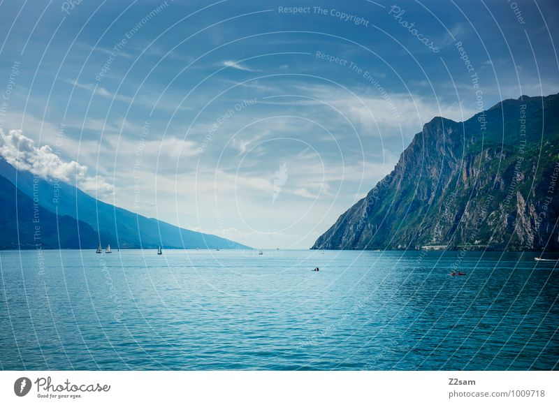 Nature Vacation & Travel Blue Summer Water Landscape Calm Clouds Far-off places Cold Environment Mountain Natural Lake Earth Esthetic