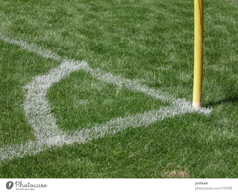 Green Yellow Sports Grass Line Soccer Signs and labeling Corner Ball Lawn Figure of speech Grass surface Corner Stadium Soccer player Flagpole