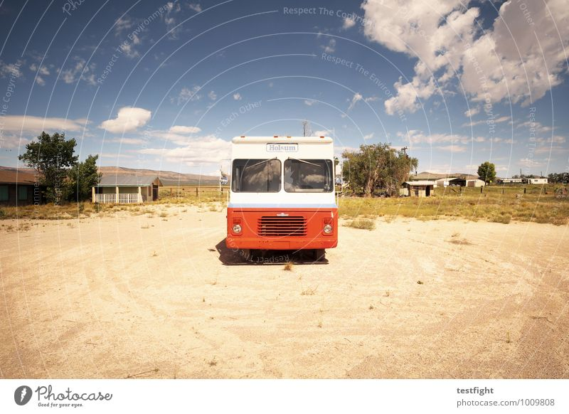 bus Nature Landscape Sky Sun Means of transport Public transit Bus travel Vintage car Old Red Parking Parked Colour photo Exterior shot Deserted