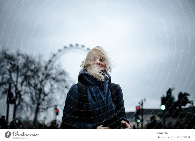 wind in my head Lifestyle Style Joy Leisure and hobbies Vacation & Travel Tourism Trip Adventure Feminine Wind Rain London Capital city Downtown Smiling