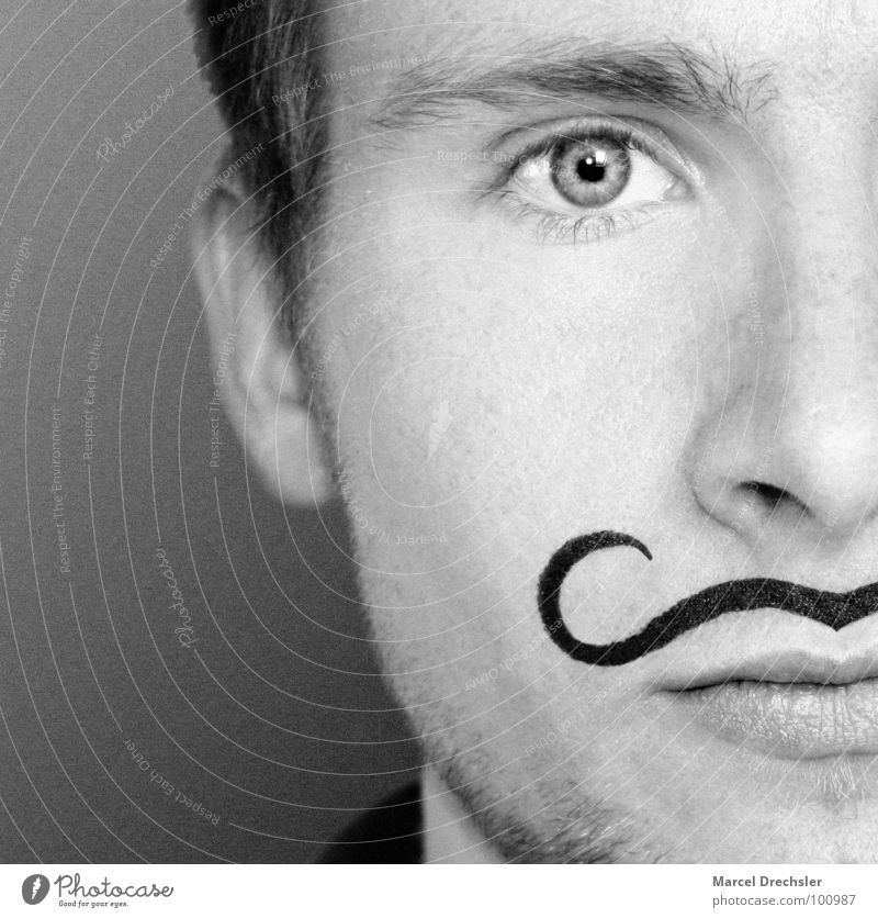El Marcello Facial hair Black White Portrait photograph Man Masculine Blur Gray Grief Dress up Apply make-up Wearing makeup Distress Black & white photo