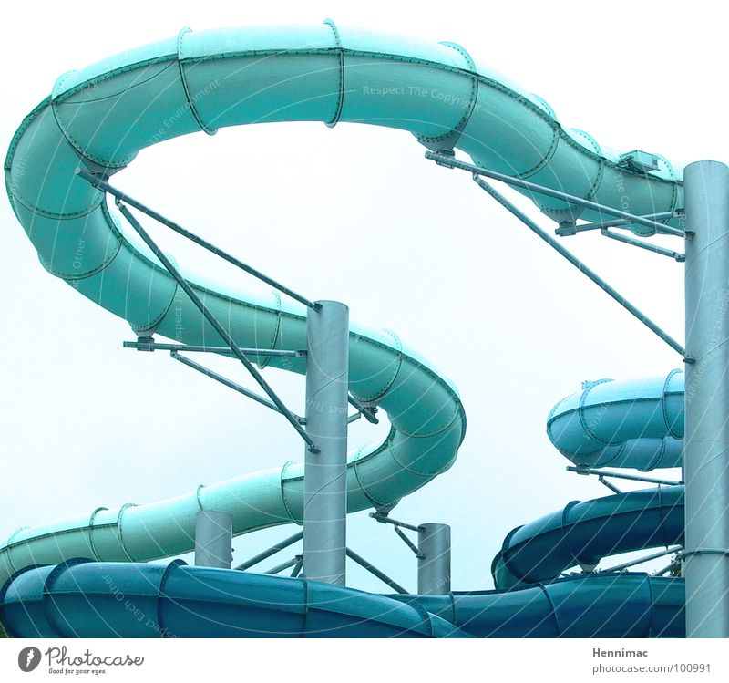 Water snake. Slide Swimming pool Hose Pipe Bathroom Joy Action Curve Wiggly line Round Speed Funny Muddled Blue Light blue Zigzag Downward Water slide Playing