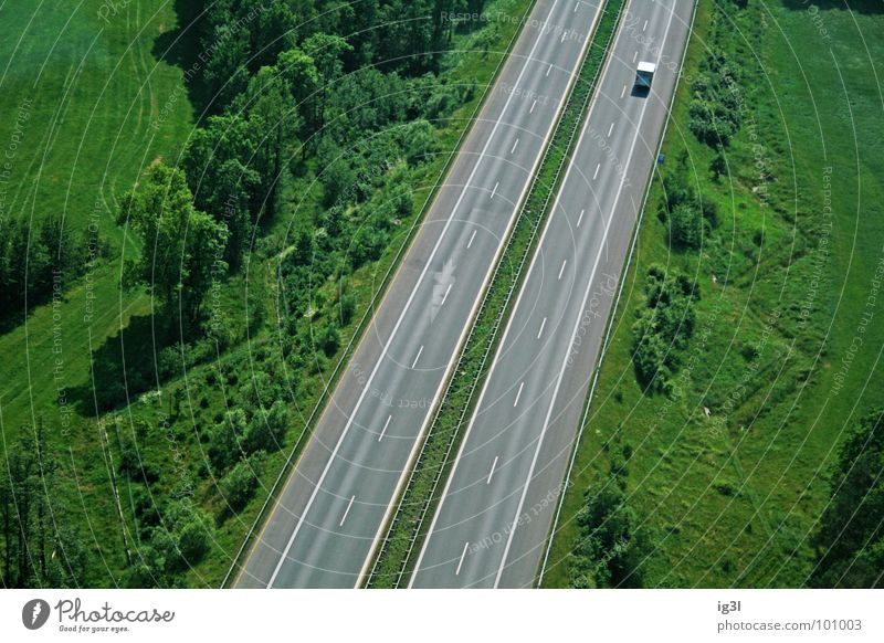 The last one turns off the light Highway Traffic lane Parallel Transport Open Multicoloured Single-minded Bird's-eye view Driving Truck Diminutive Minimal