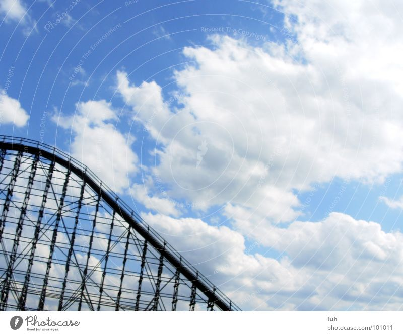 Love! Amusement Park Edge Speed Thrill Summer Sky Clouds Roller coaster Steep Large Wood flour Action Soltau colossuses heath park high Lawn Sun fun Joy yoo