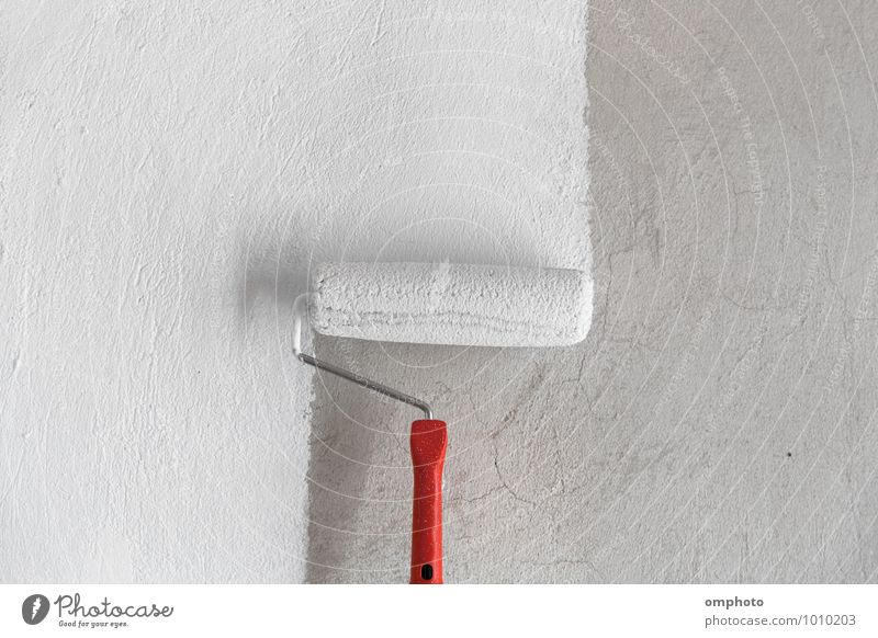 Painting a rough wall in a white color by paint roller Work and employment Painter Workplace Industry Construction site Coat Fresh Clean White Colour painting