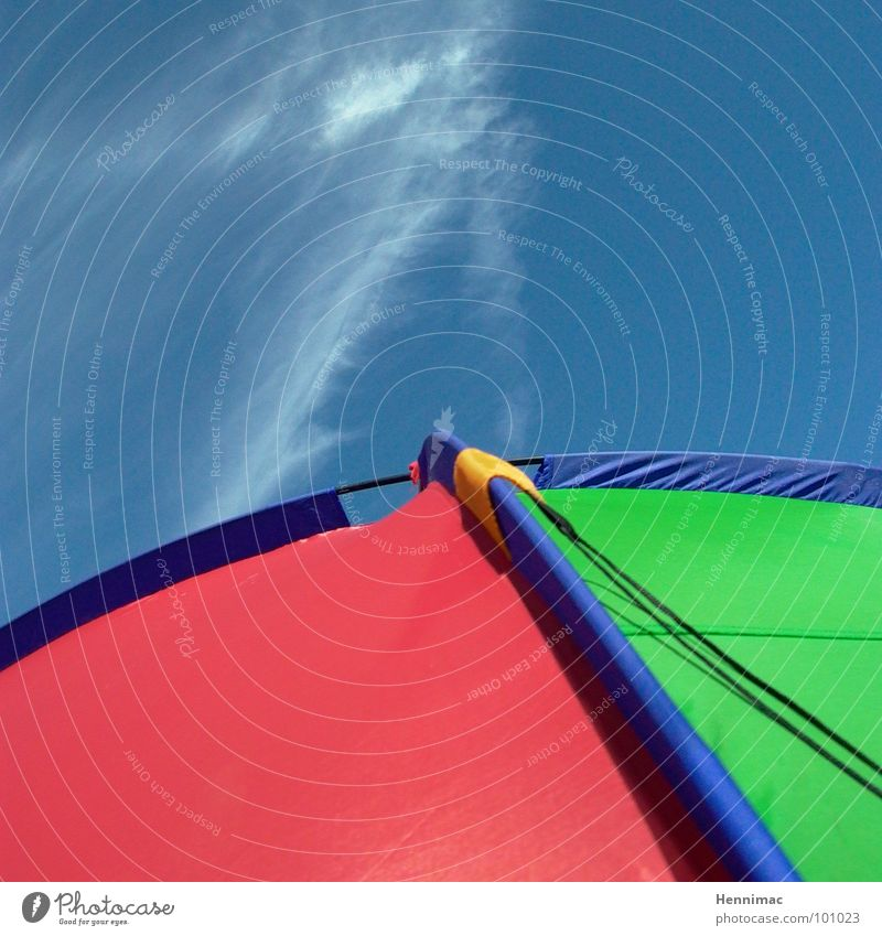 Sky Green Blue Red Summer Beach Clouds Yellow Colour Back Network Corner Arrow Camping Spider Tent