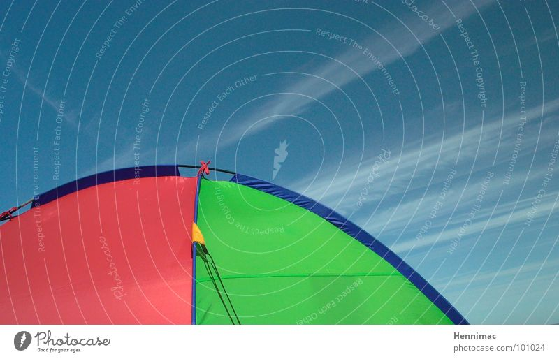 Sky Green Blue Red Summer Beach Clouds Yellow Colour Back Circle Network Corner Round Arrow Camping