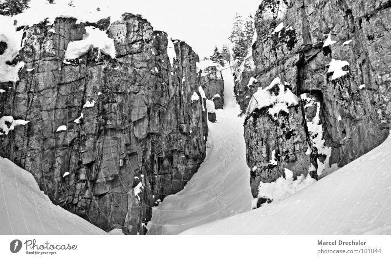 Winter Cold Snow Mountain Stone Lanes & trails Ice Rock Dangerous Threat Climbing Footprint Silver Go up Canyon Crash