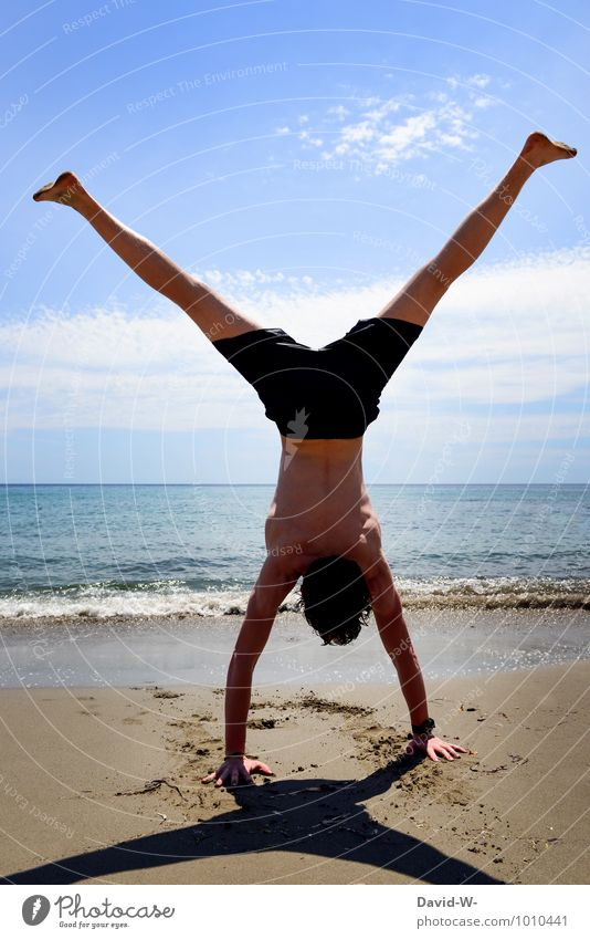 Vacation & Travel Youth (Young adults) Ocean Young man 18 - 30 years Beach Adults Sports Exceptional Sand Masculine Power Body Beautiful weather Fitness Adventure