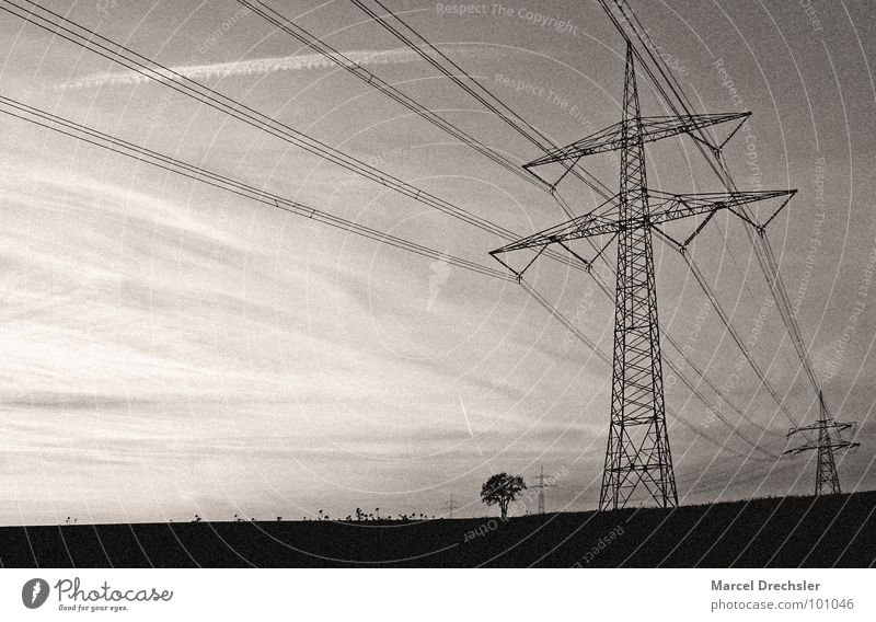 Free electricity for everyone! Electricity White Overland route Field Black & white photo Electricity pylon black Sepia grain Energy industry Cable masts