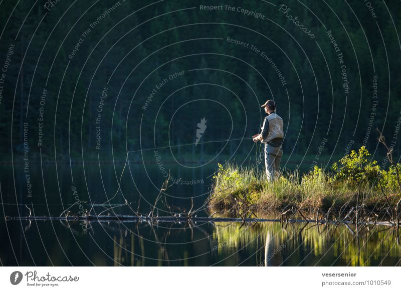 First the work, then the fish! Fishing (Angle) Fly fishing Summer Masculine 1 Human being Lakeside Wait Happy Contentment Passion Serene Calm Endurance