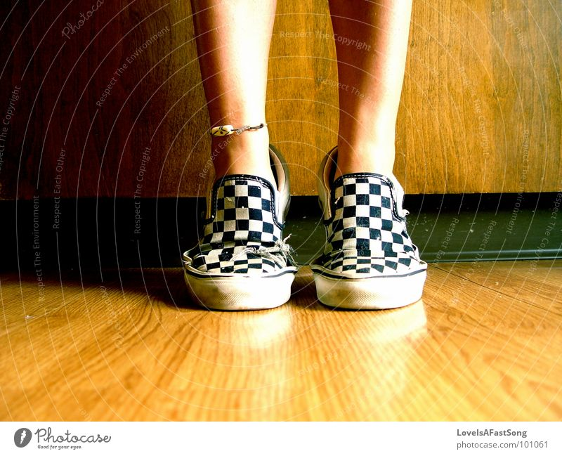 your feet in my shoes? Wood flour Kitchen legs tan anklet bare feet checkered slip ons tip toe brown symmetry calf Calves bright sunlight sunshine