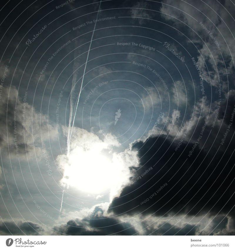 Sky Sun Summer Black Clouds Dark Thunder and lightning Dusk Bad weather Vapor trail Sombre mood