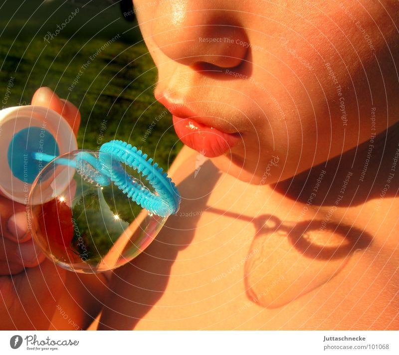 Human being Child Summer Face Playing Boy (child) Garden Mouth Toys Blow Soap bubble