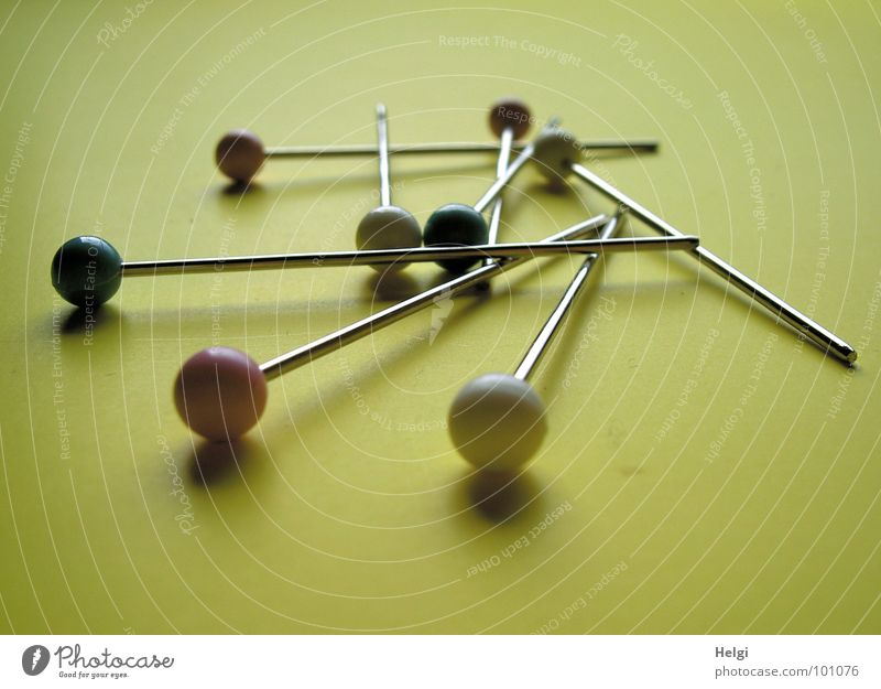White Green Red Yellow Metal Together Glittering Lie Round Long Sphere Craft (trade) Entertainment Needle Dull Pin