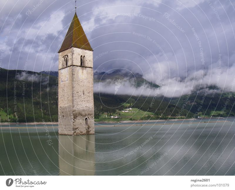 Lake Italy Go under House of worship Resia Church spire Reservoir South Tyrol Reschnpass Lake Reschen