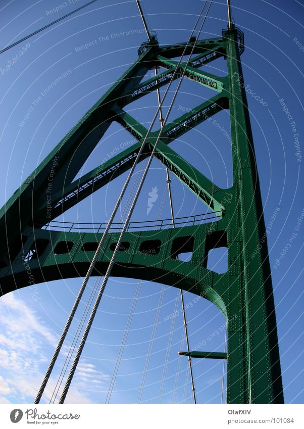 Sky Green Blue Colour Metal Rope Bridge Steel Steel cable Upward Construction Vertical Blue sky Partially visible Section of image Pylon
