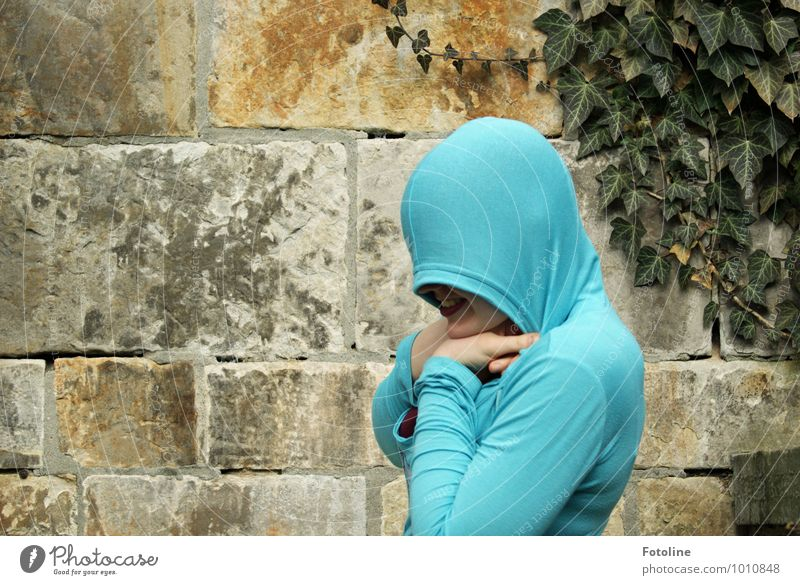Well camouflaged? Human being Feminine Young woman Youth (Young adults) Head Mouth Hand Plant Summer Ivy Leaf Exceptional Brash Near Blue Cardigan