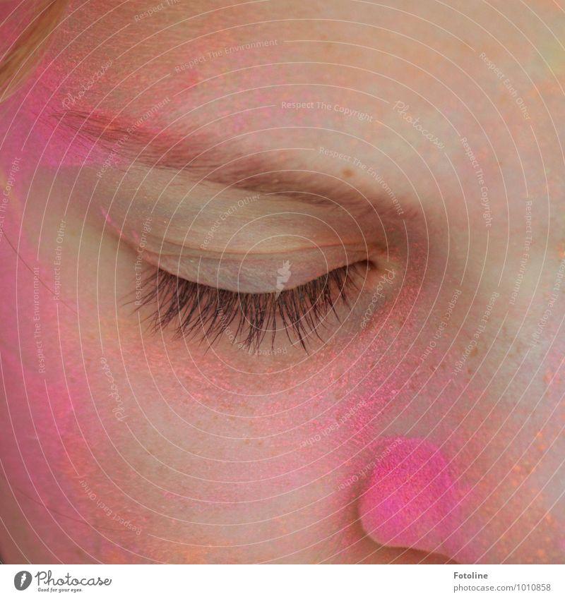 Human being Child Beautiful Girl Face Eyes Feminine Hair and hairstyles Bright Pink Infancy Skin Nose Near Eyelash Eyebrow