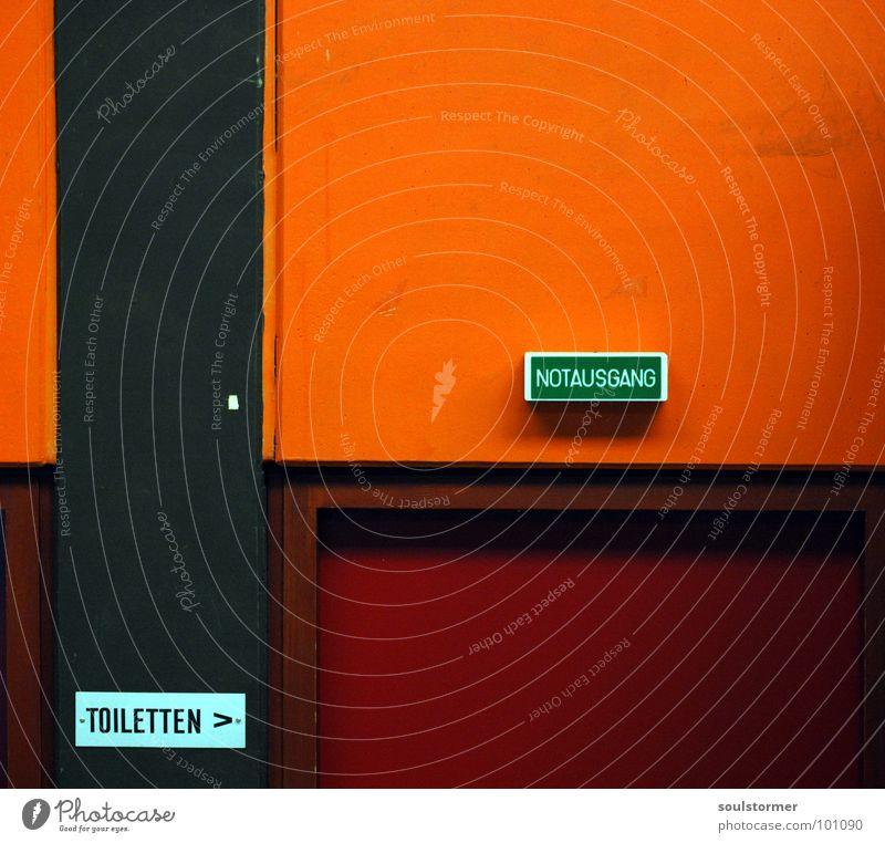Orange Going Door Speed Bathroom Toilet Gate Haste Way out Room Needy Passage Emergency exit Bowel movement