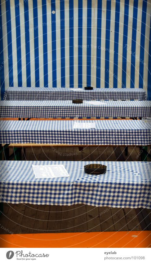 Seat reservation recommended but unnecessary Table Tent Beer tent Bavaria Oktoberfest Village fair Menu Stripe Covers (Construction) Folding table Furniture