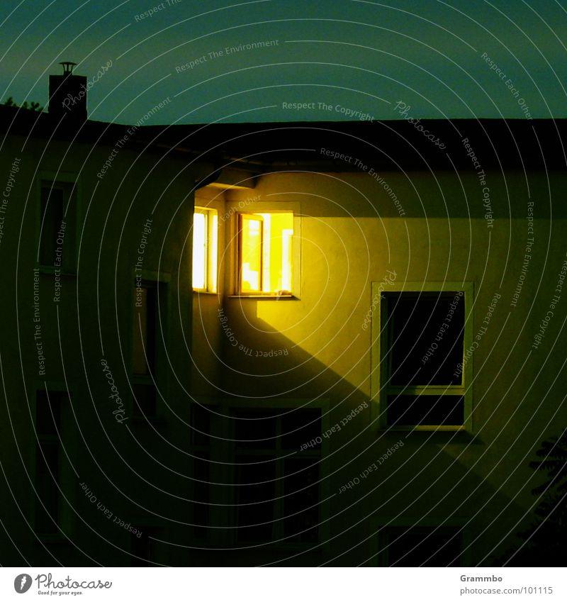 Advent, Advent ... Night Twilight Window Light Source Dark Magdeburg Bi Ba Butzemann Room with view Perspective triangulation Evening Chimney Sky Bright
